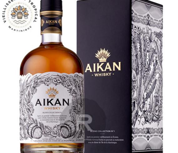 AIKAN WHISKY , LE COQ GOURMAND, Un beau flacon qui sert d'écrin à un whisky rare aux arômes originaux. Vieilli en fût de rhum de la Martinique