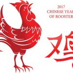Red rooster as symbol of Chinese New Year 2017